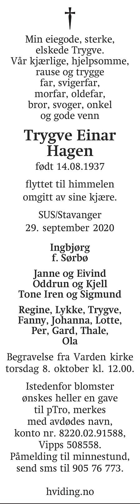 Trygve Einar Hagen Dødsannonse