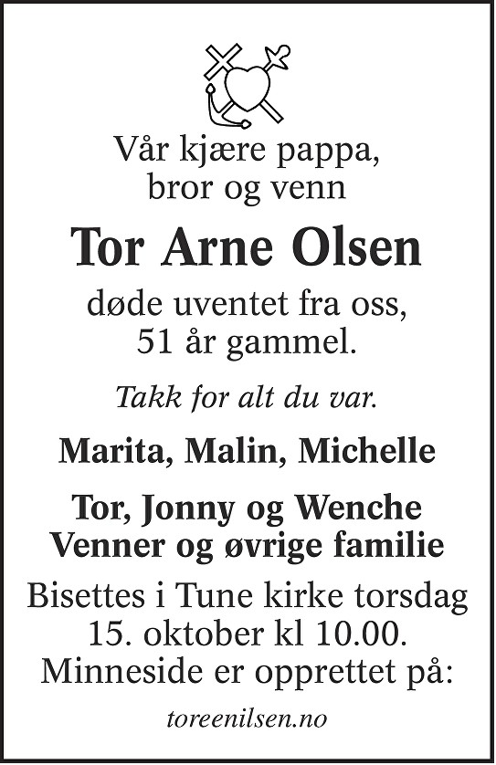 Tor-Arne Olsen Dødsannonse