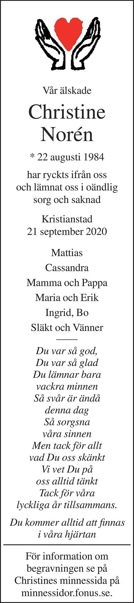 Christine Norén Death notice