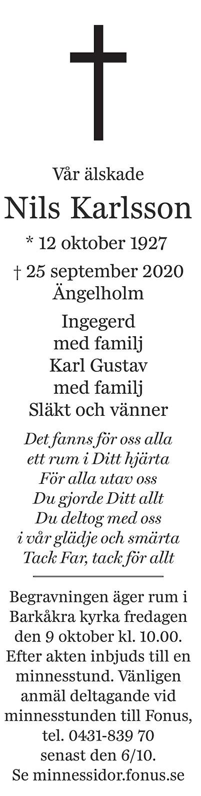 Nils Karlsson Death notice