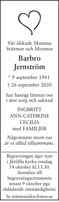Barbro Jernström Death notice
