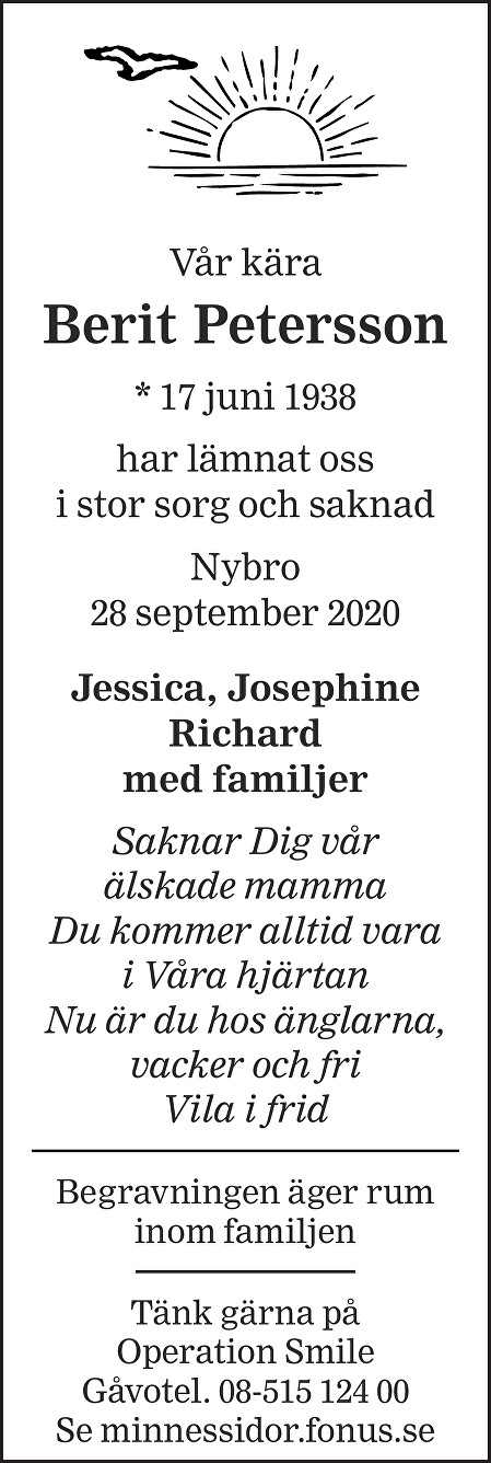 Berit Petersson Death notice