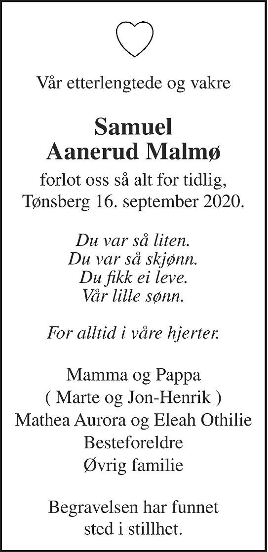Samuel Aanerud Malmø Dødsannonse