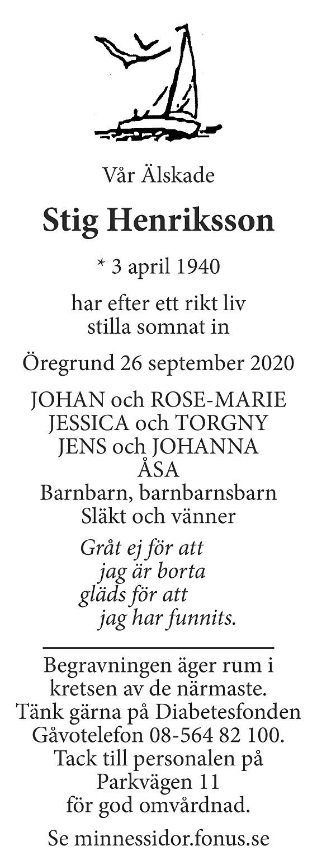 Stig Henriksson Death notice
