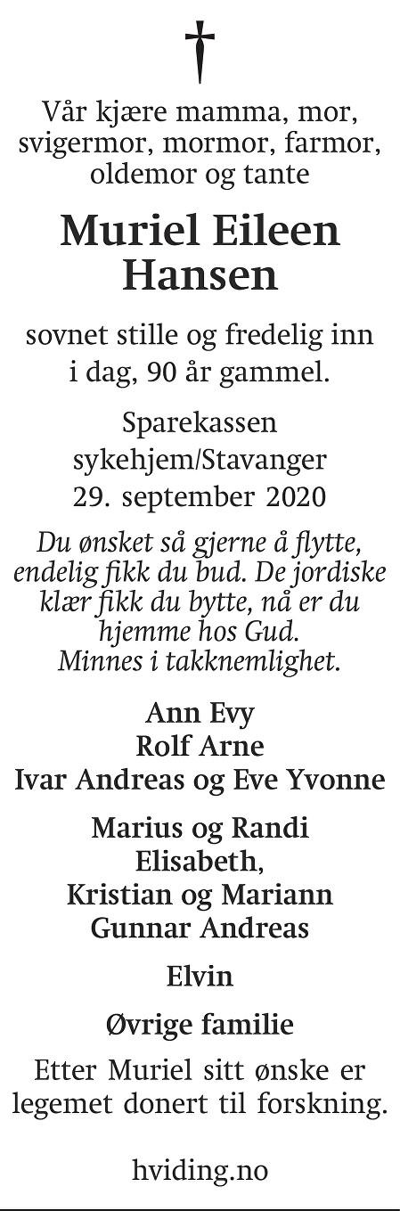 Muriel Eileen Hansen Dødsannonse