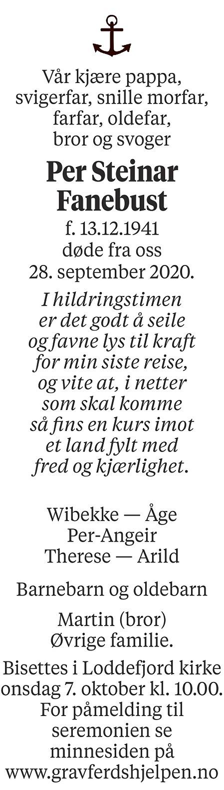 Per Steinar Fanebust Dødsannonse