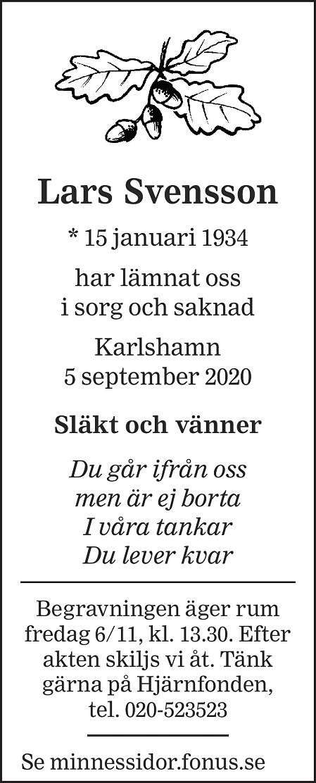 Lars Svensson Death notice