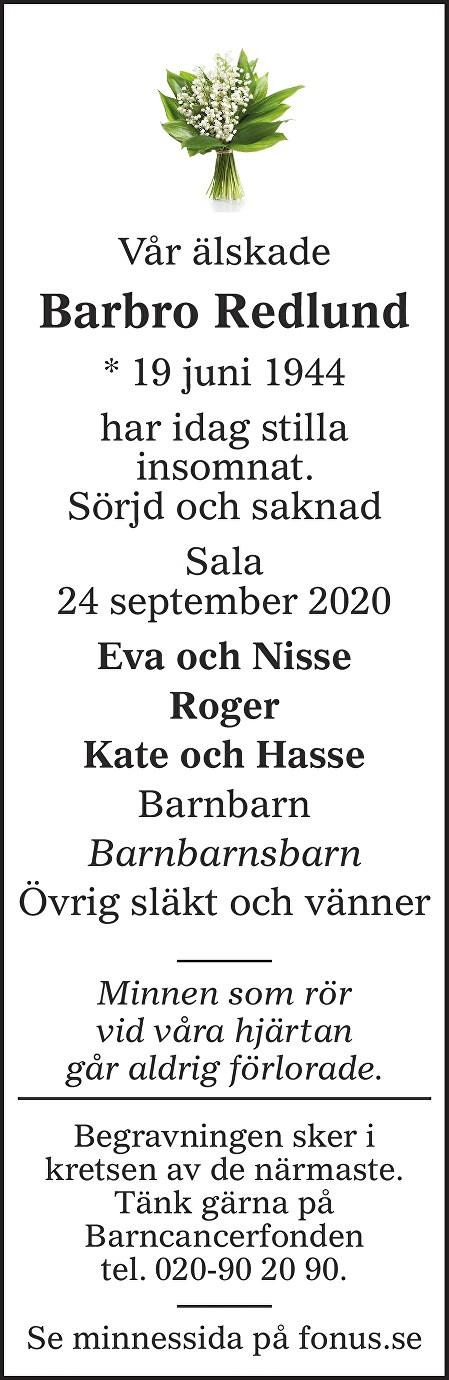 Barbro Redlund Death notice
