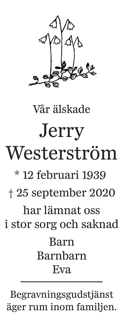 Jerry Westerström Death notice