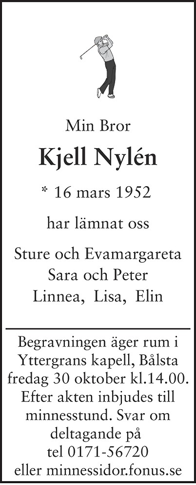 Kjell Nylén Death notice
