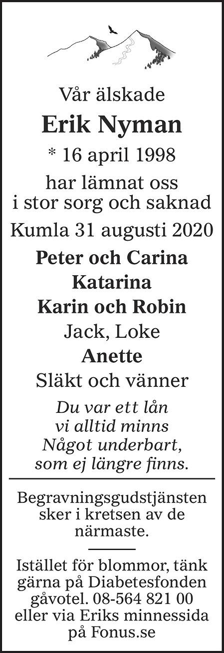 Erik Nyman Death notice