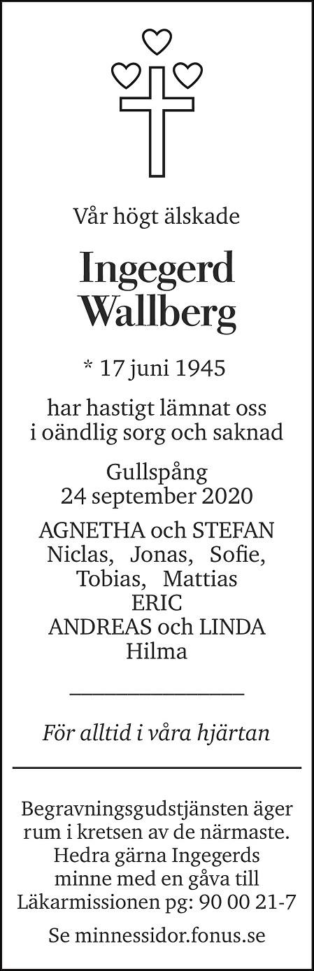 Ingegerd Wallberg Death notice