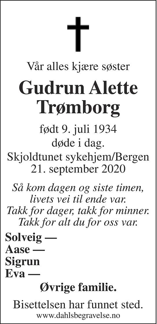 Gudrun Alette Trømborg Dødsannonse
