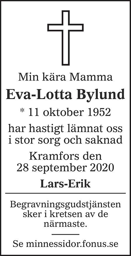 Eva-Lotta Bylund Death notice