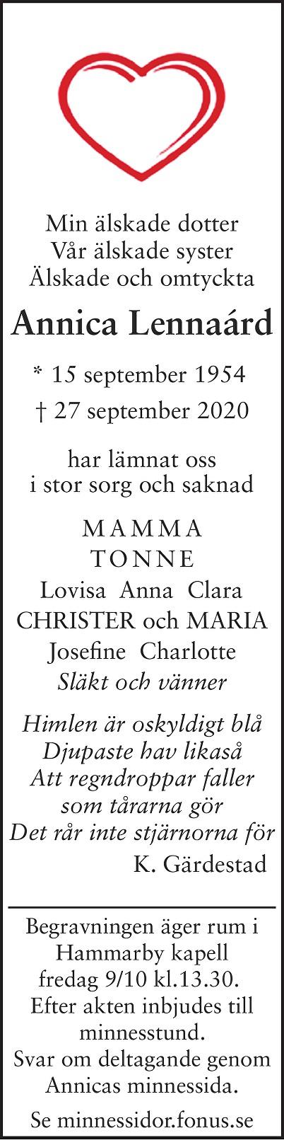 Annica Lennaárd Death notice