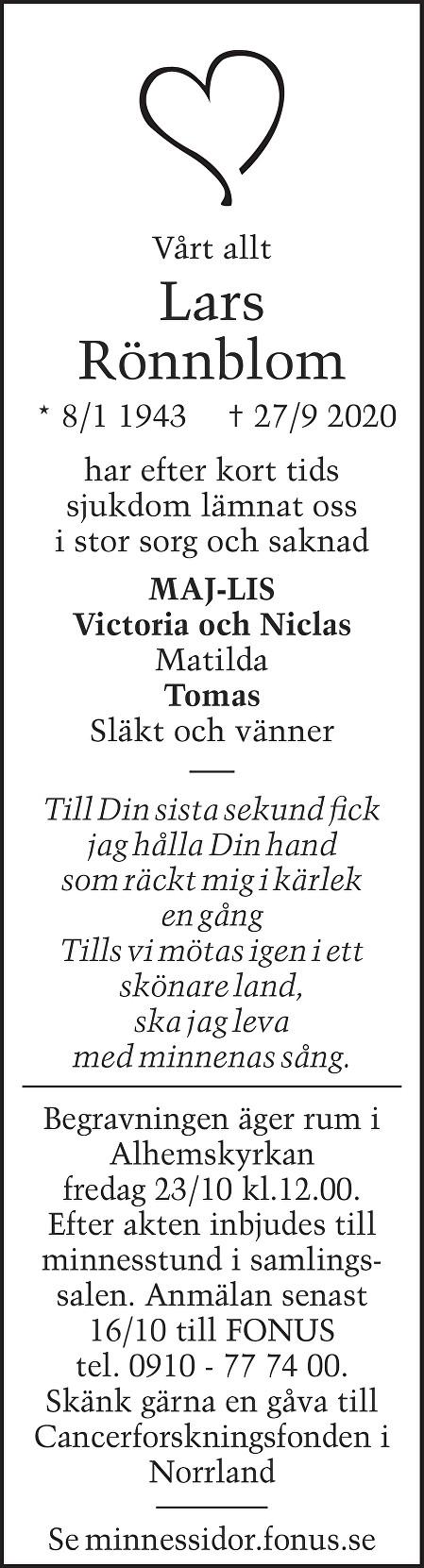 Lars Rönnblom Death notice