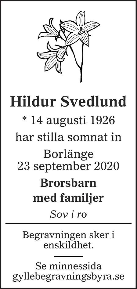 Hildur Svedlund Death notice