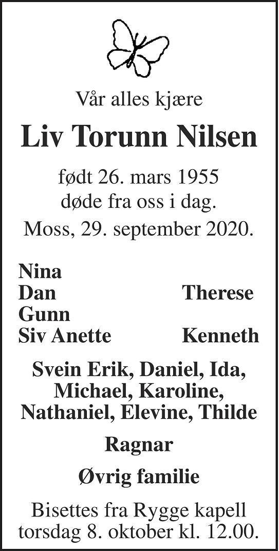 Liv Torunn Nilsen Dødsannonse