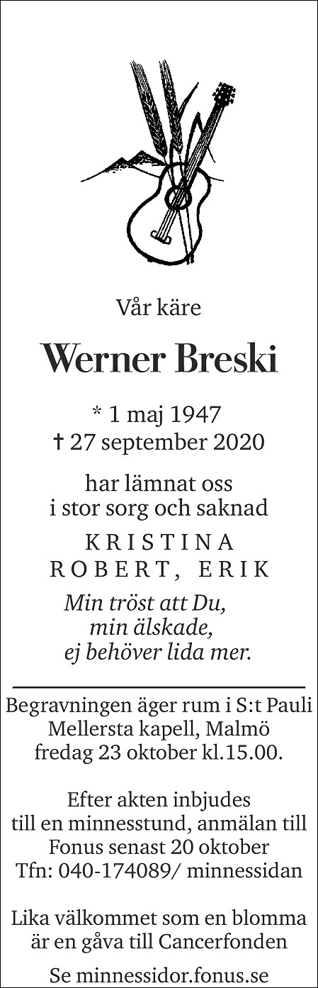 Werner Breski Death notice