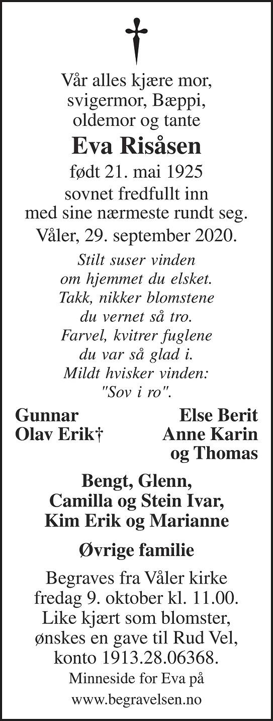 Eva Risåsen Dødsannonse
