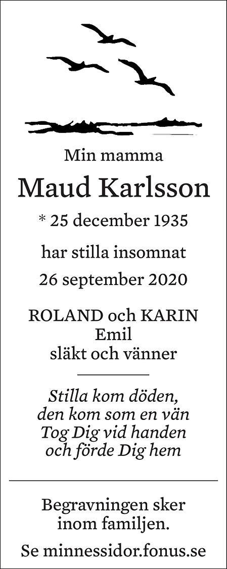 Maud Karlsson Death notice