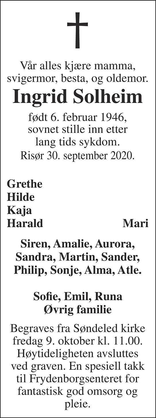 Ingrid  Solheim Dødsannonse