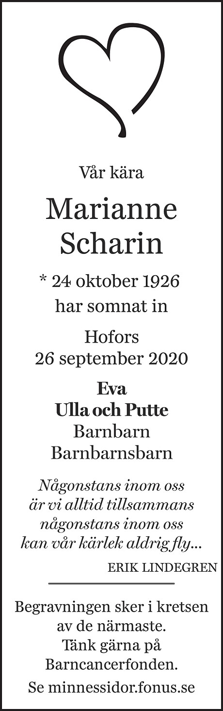 Marianne Scharin Death notice