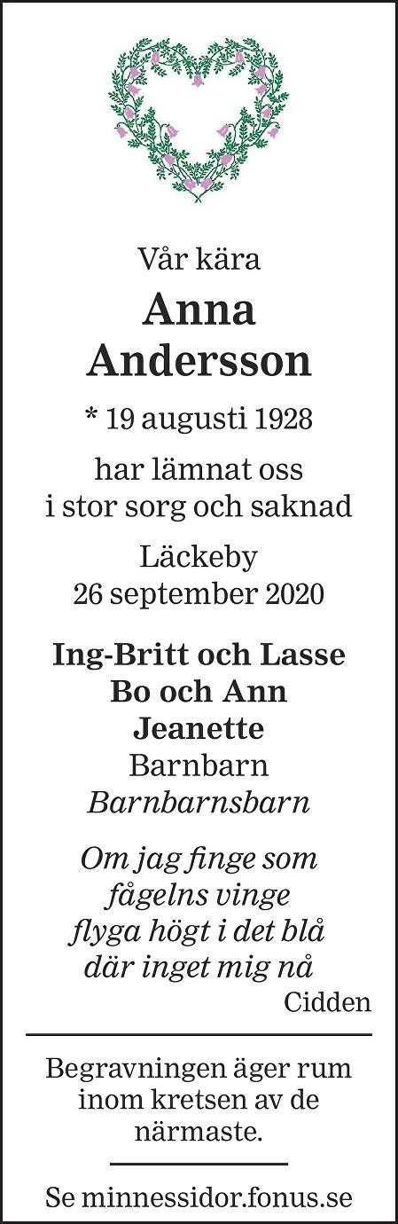 Anna Andersson Death notice