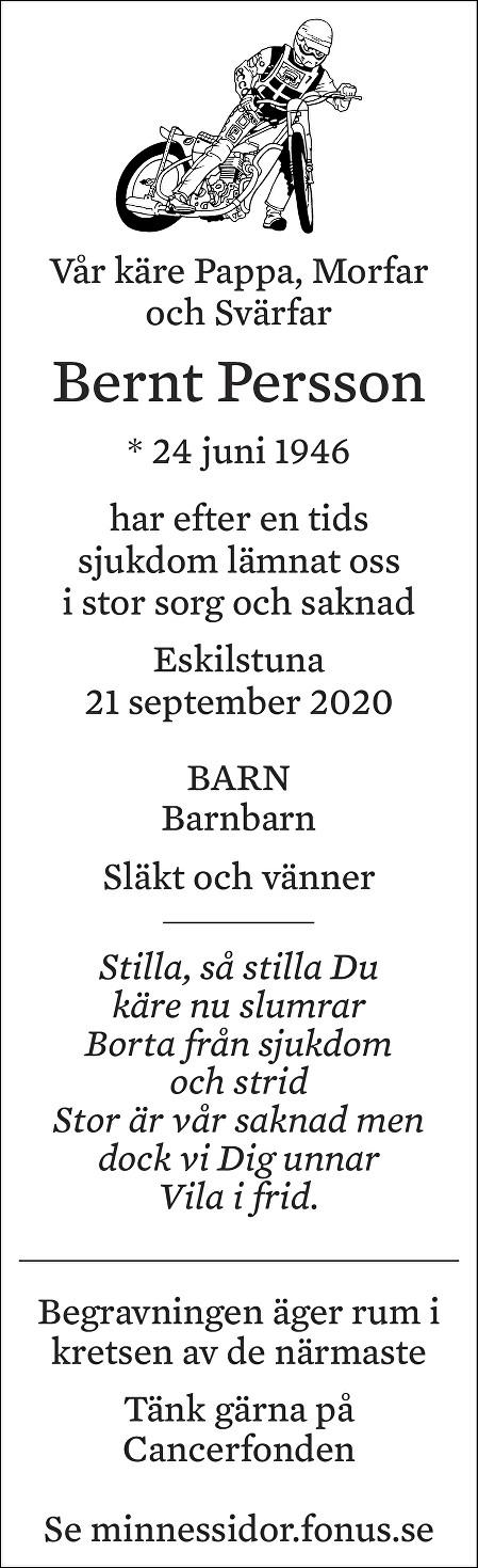 Bernt Persson Death notice
