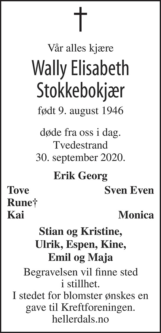 Wally Elisabeth Stokkebokjær Dødsannonse
