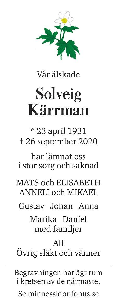 Solveig Kärrman Death notice