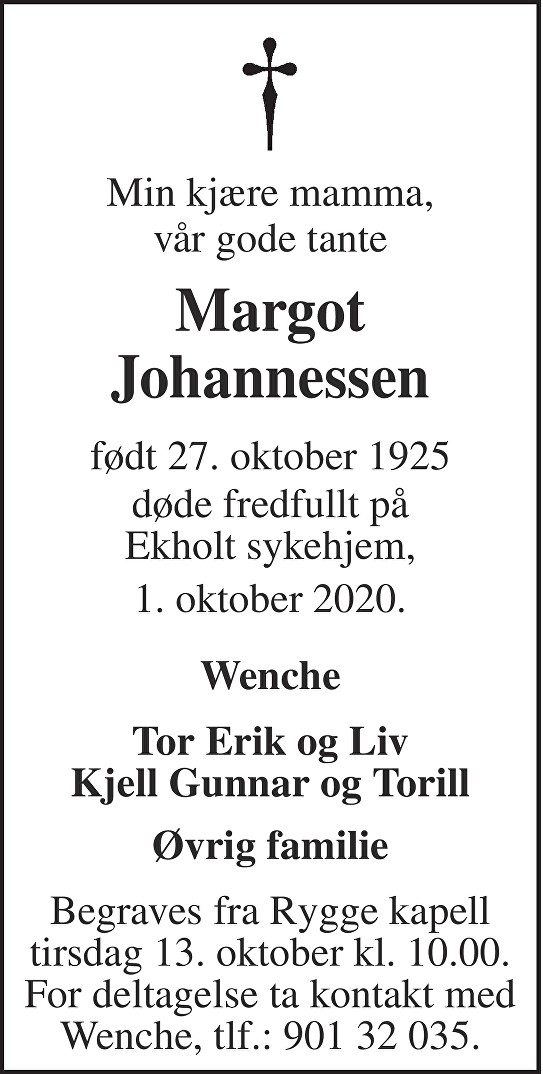 Margot Johannessen Dødsannonse