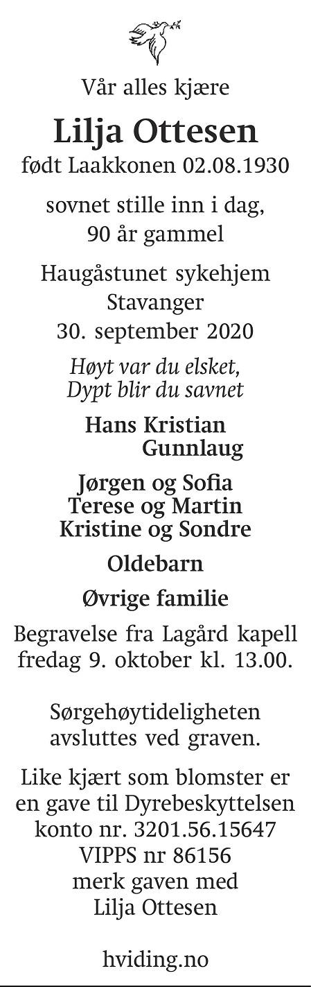 Lilja Ottesen Dødsannonse