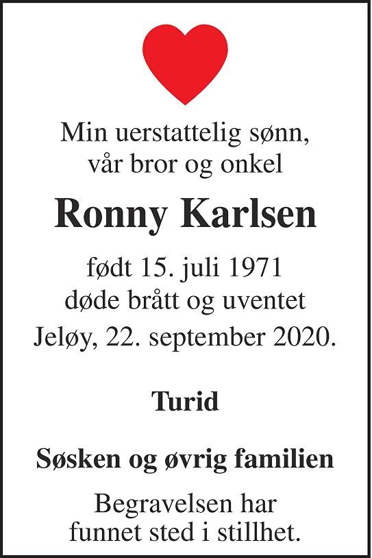 Ronny Karlsen Dødsannonse