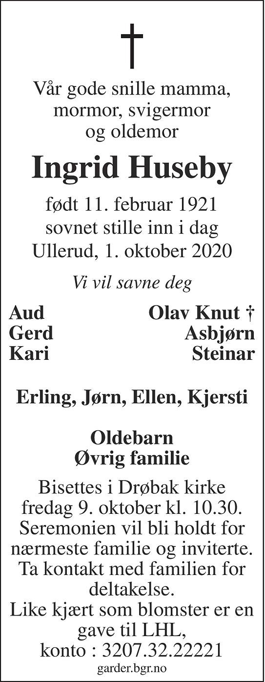 Ingrid Huseby Dødsannonse