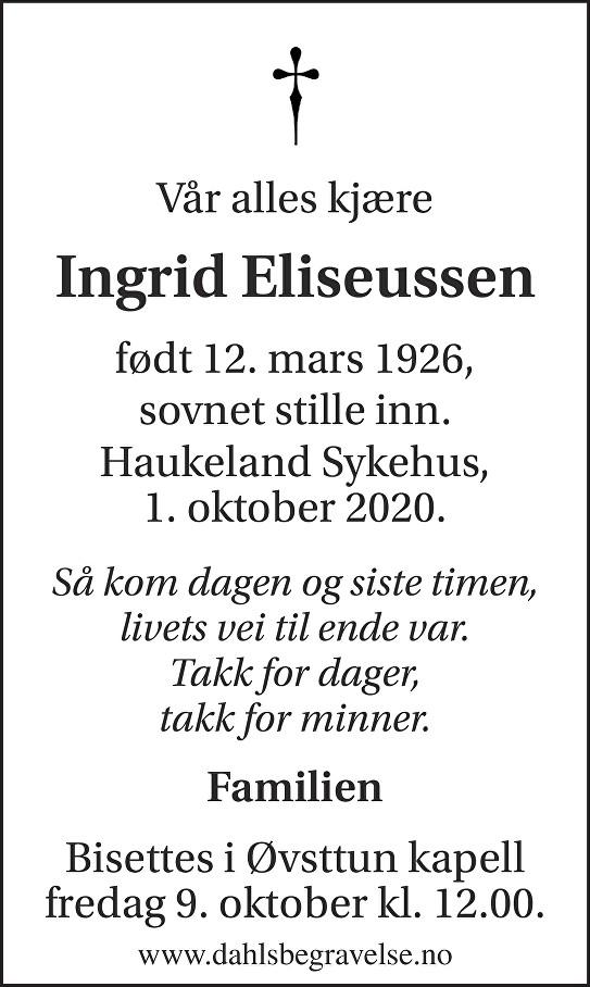 Ingrid Eliseussen Dødsannonse