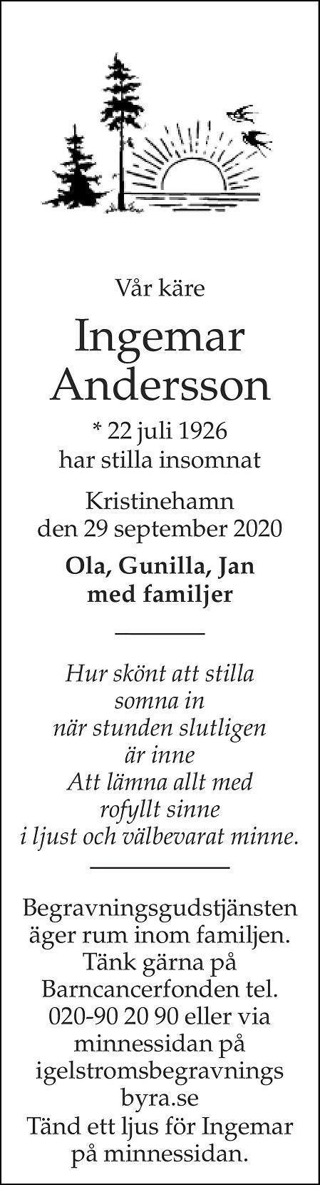 Ingemar Andersson Death notice