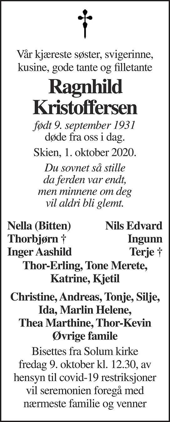Ragnhild Kristoffersen Dødsannonse