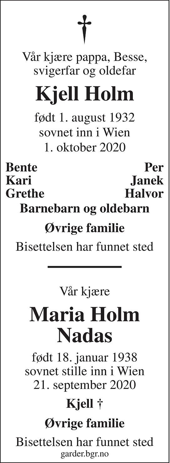 Kjell Holm Dødsannonse