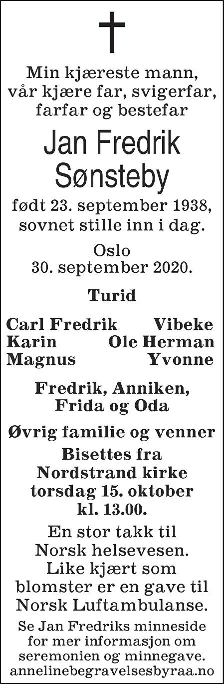 Jan Fredrik Sønsteby Dødsannonse