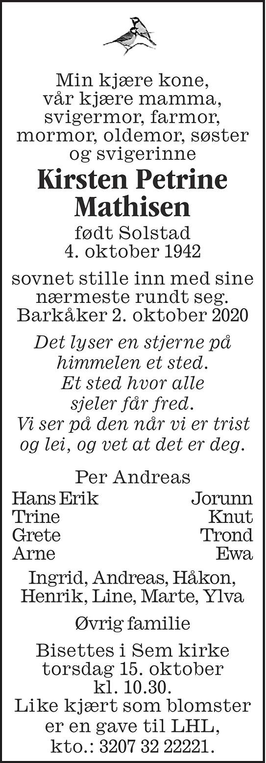 Kirsten Petrine Mathisen Dødsannonse