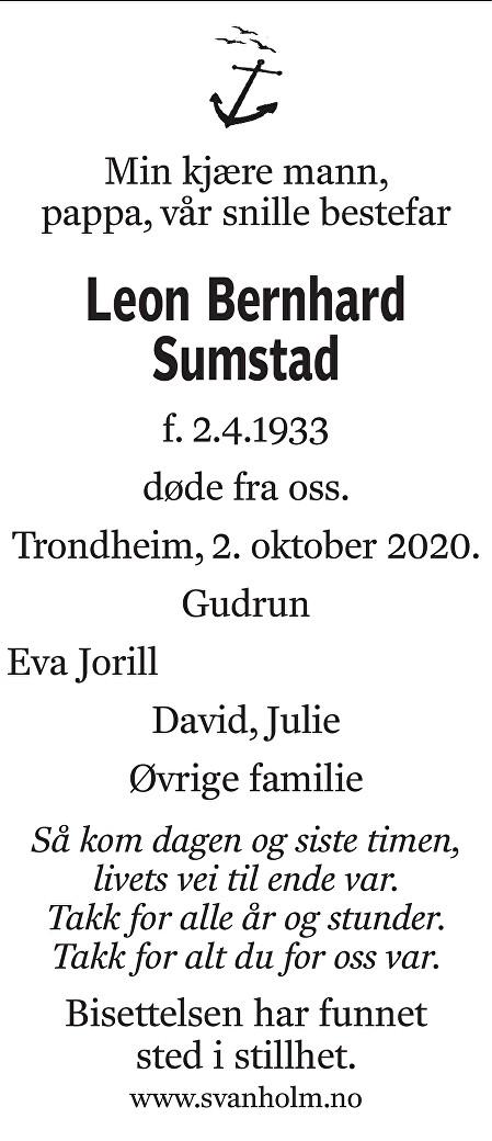 Leon Bernhard Sumstad Dødsannonse