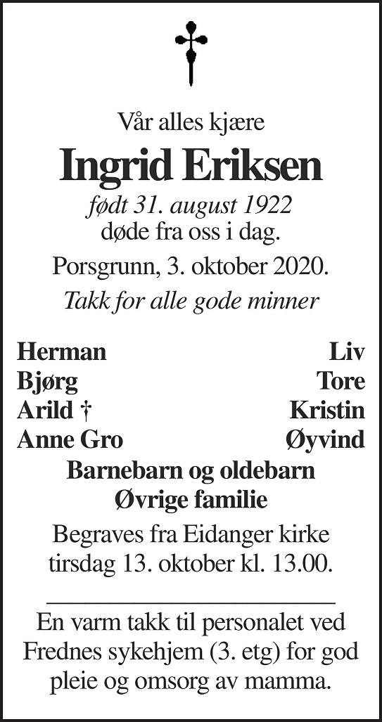 Ingrid M. Eriksen Dødsannonse