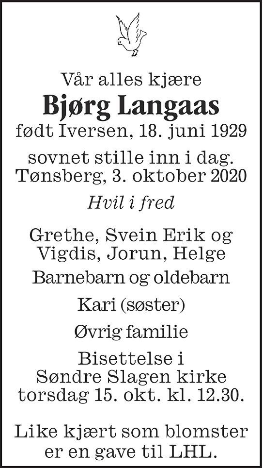 Bjørg Langaas Dødsannonse
