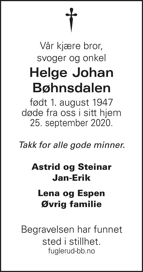 Helge Johan Bøhnsdalen Dødsannonse