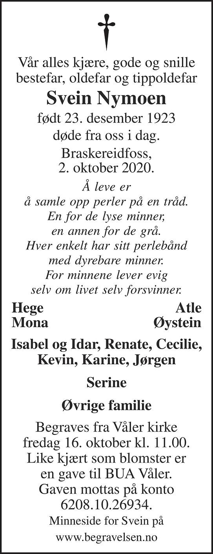 Svein Nymoen Dødsannonse