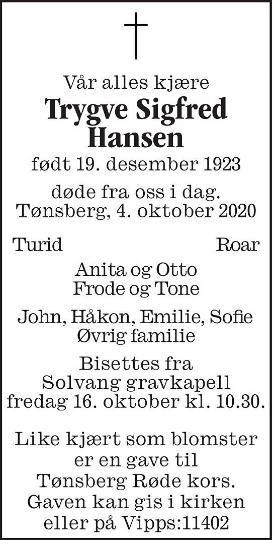 Trygve Sigfred Hansen Dødsannonse