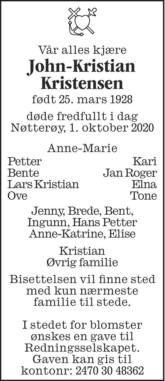 John-Kristian Kristensen Dødsannonse
