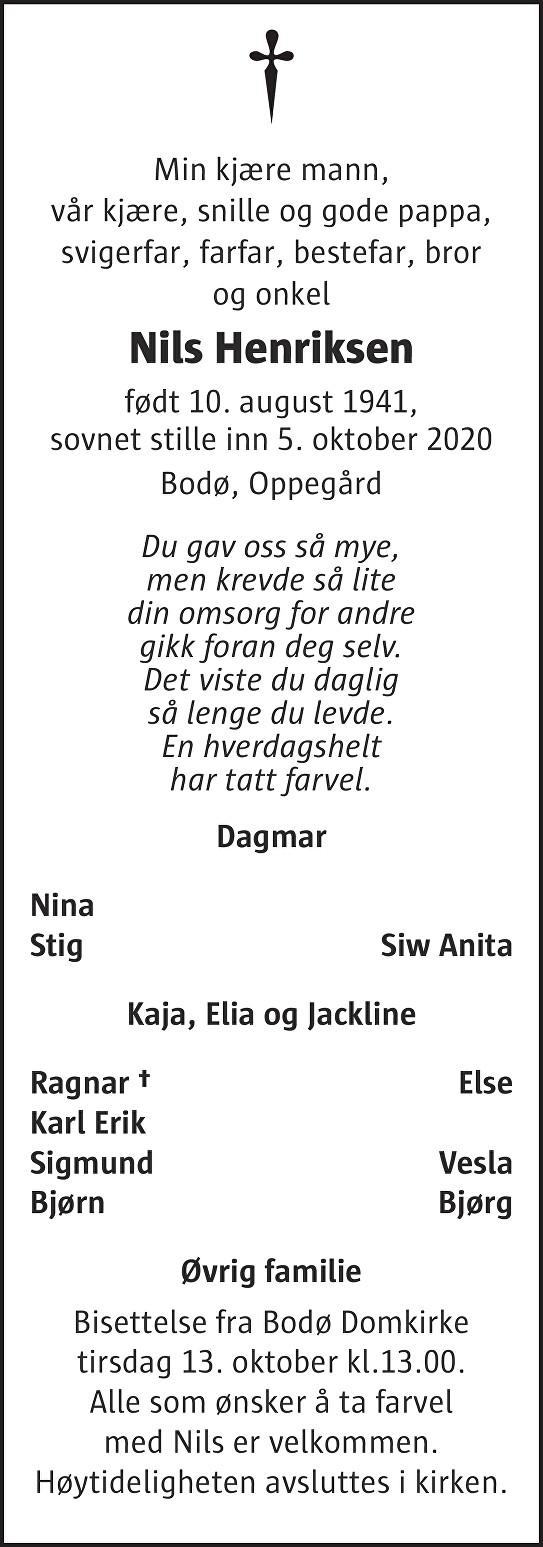 Nils Henriksen Dødsannonse