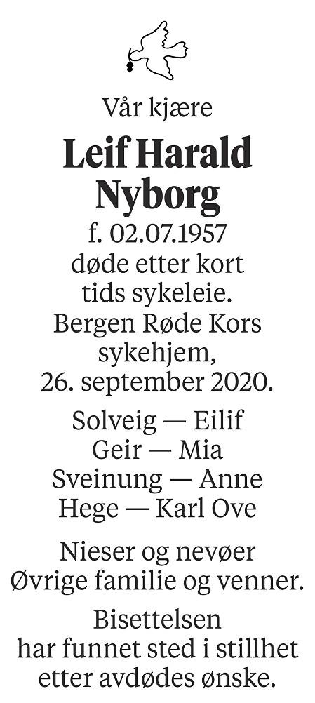 Leif Harald Nyborg Dødsannonse